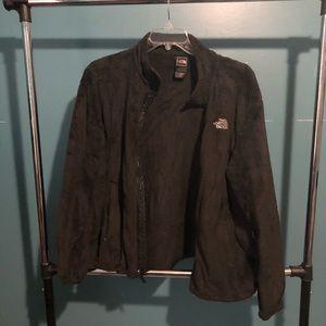 Black furry north face jacket